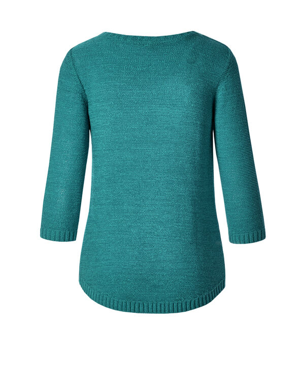 Green Open Cable Knit Sweater, Frio Green, hi-res