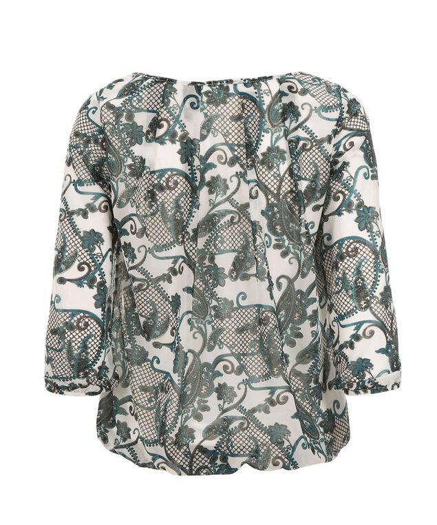 Chiffon Bubble Knit, Teal Print, hi-res