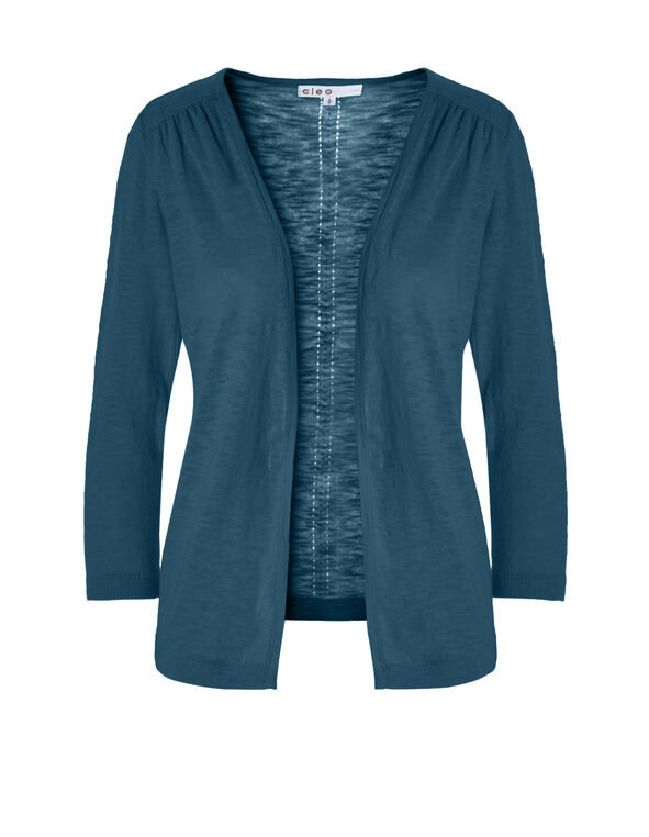 Turquoise Pointelle Knit Cardigan, Dark Turquoise, hi-res