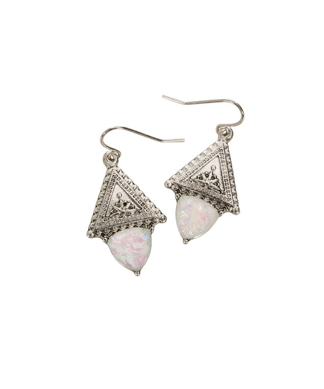 Triangle Stone Earring, Pink/Antique Silver, hi-res