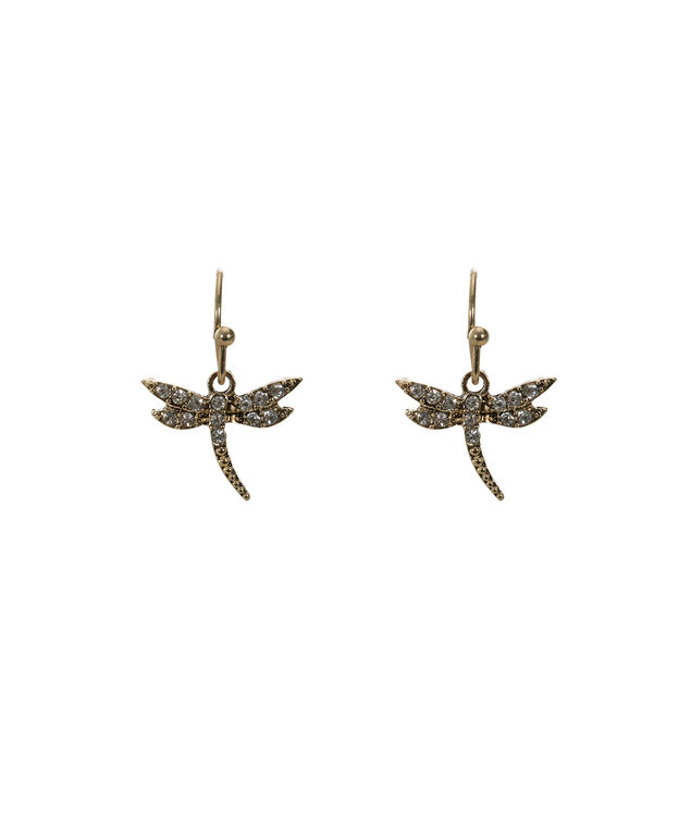 Dragonfly Earring, Antique Gold, hi-res