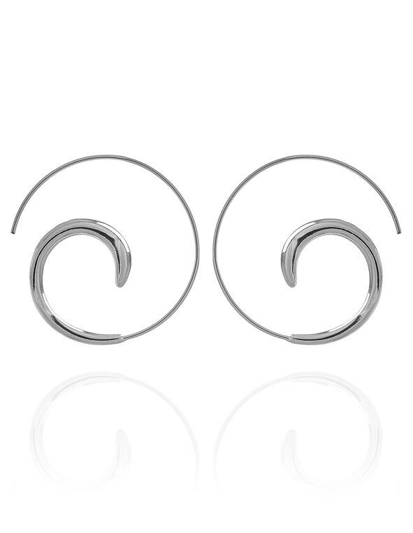 Silver Swirl Endless Hoop Earring, Silver, hi-res
