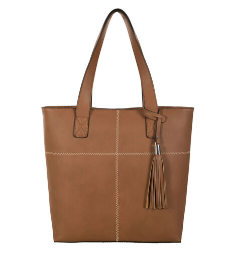 Stitch & Tassel Tote Bag, Brown, hi-res
