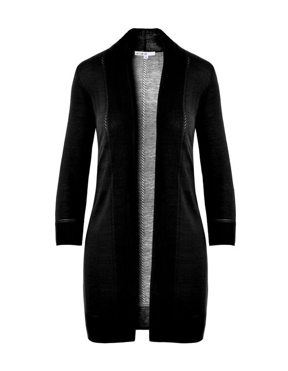Black Pointelle Cardigan, Black, hi-res