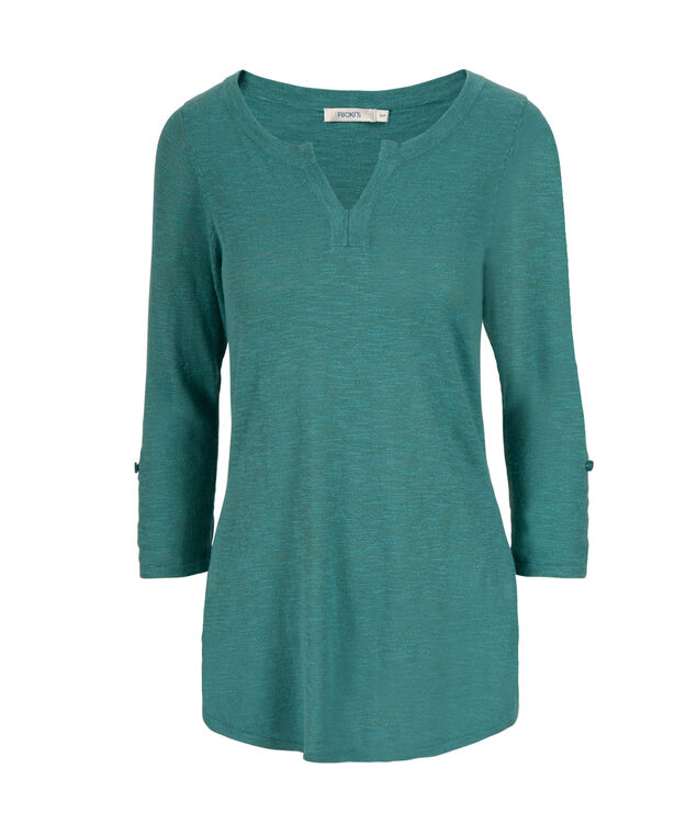 Roll Cuff Pullover Henley, Mid Teal, hi-res
