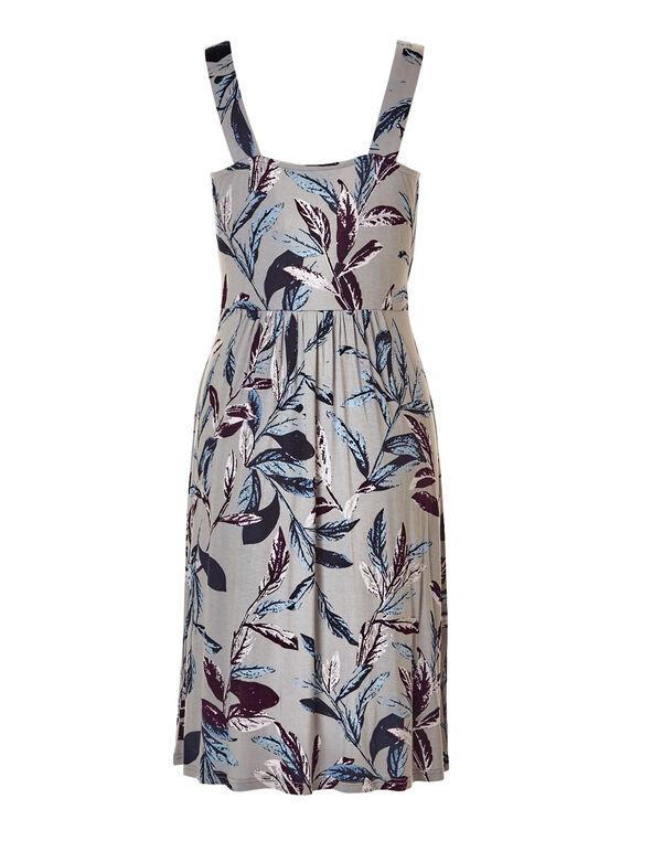 Leaf Print Crossover Dress, Stone/Bordeaux/Washed Blue, hi-res
