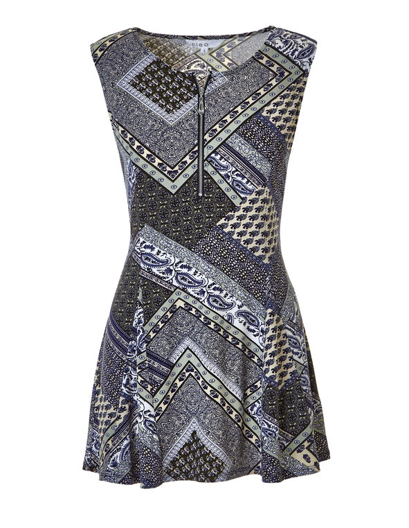 Patchwork Print Zipper Tunic, Navy/Stone/Sage, hi-res