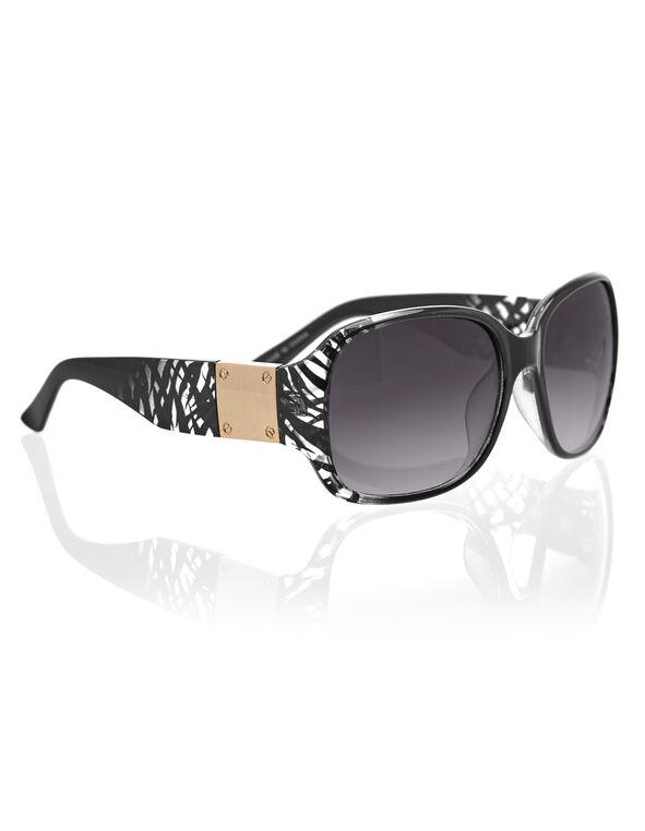 Black Zebra Print Sunglasses, Black/Rose Gold, hi-res
