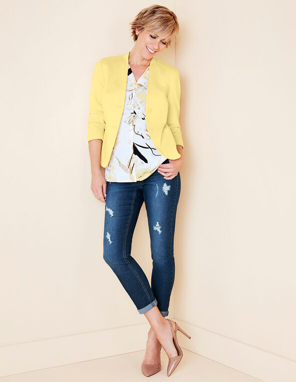 Yellow 3/4 Sleeve Blazer, Yellow, hi-res