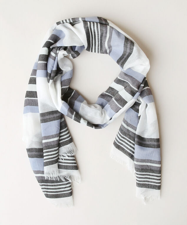 multi stripe scarf, BLUE/WHITE, hi-res