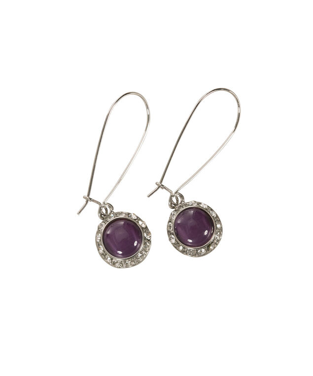 Round Cateye Earring, Purple/Rhodium, hi-res