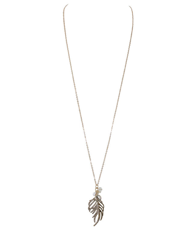 Feather Pendant Necklace, Antique Gold, hi-res