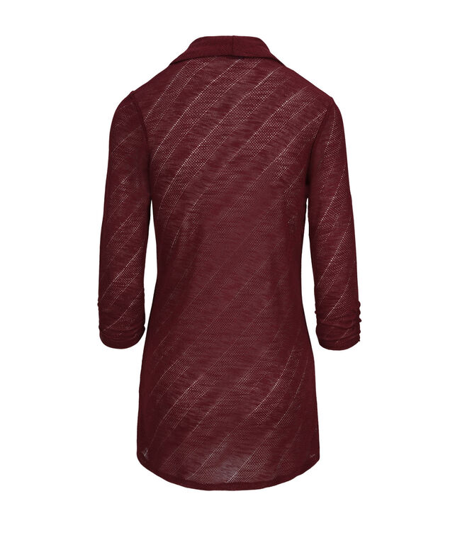 Chevron Shawl Collar Cover Up, Cranberry, hi-res