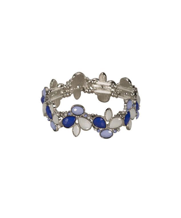 Faceted Stone Bracelet, Blue/Milkshake/Rhodium, hi-res