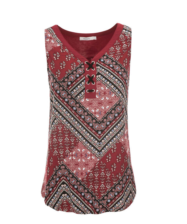 Lace Up Tank, Red Print, hi-res