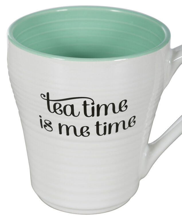 Tea Time Me Time Coffee Mug, White/Green, hi-res