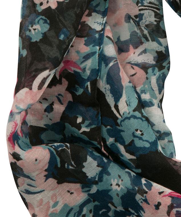 Border Floral Print Eternity Scarf, Misty Pink/Teal, hi-res