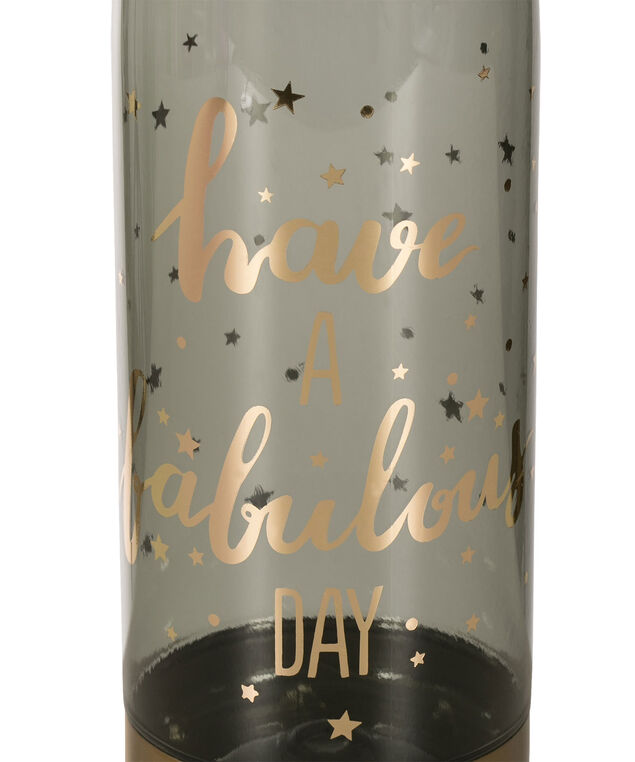 Fabulous Day Water Bottle, Black/Gold, hi-res