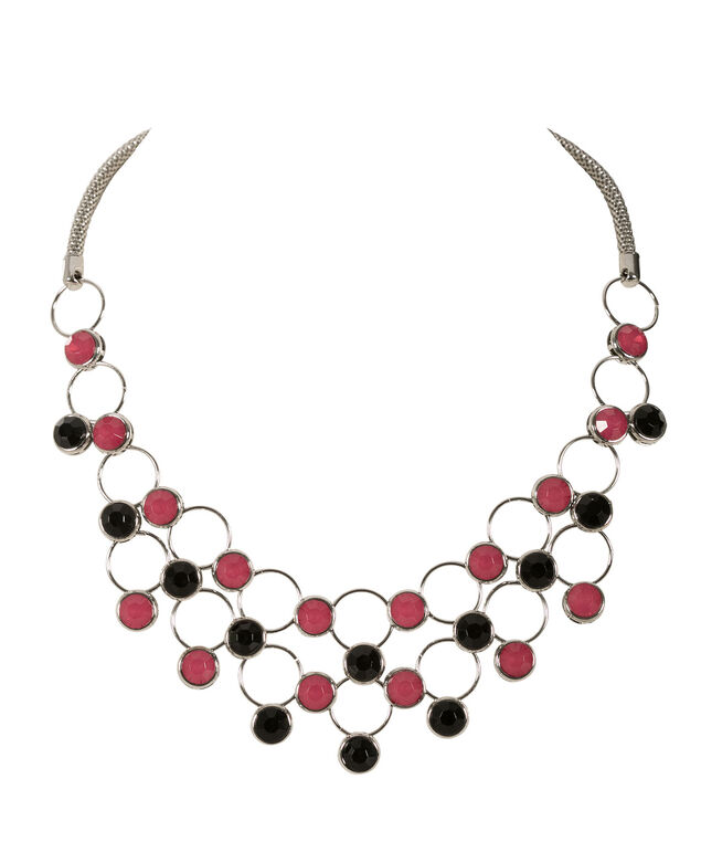 Ring & Bead Necklace, Vibrant Pink/Black/Rhodium, hi-res