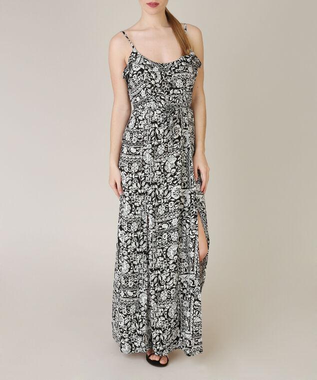 slit maxi dress, WHITE/BLACK, hi-res
