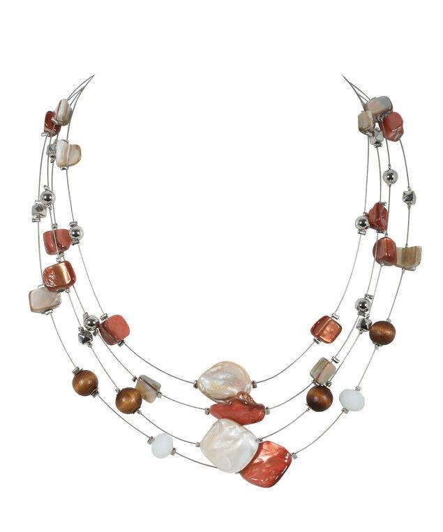 Stationed Bead Wire Necklace, Soft Orange/Rhodium, hi-res