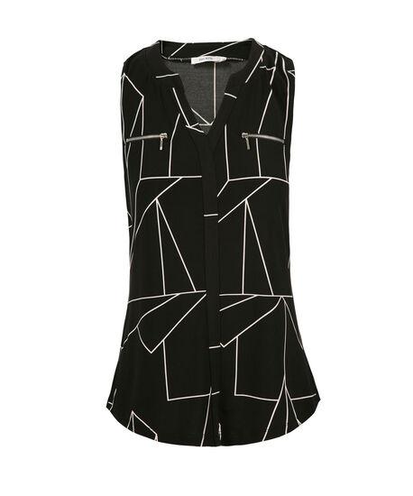 Sleeveless Zip Pocket Blouse, Neutral Pattern, hi-res
