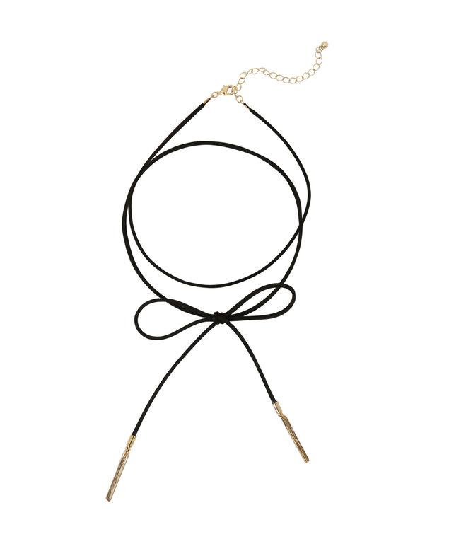 faux lariat choker with pendant, GOLD/BLACK, hi-res