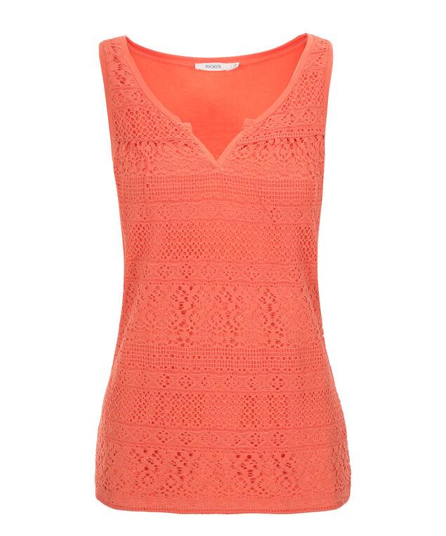 Crochet Notch Neck Tank, Soft Orange, hi-res