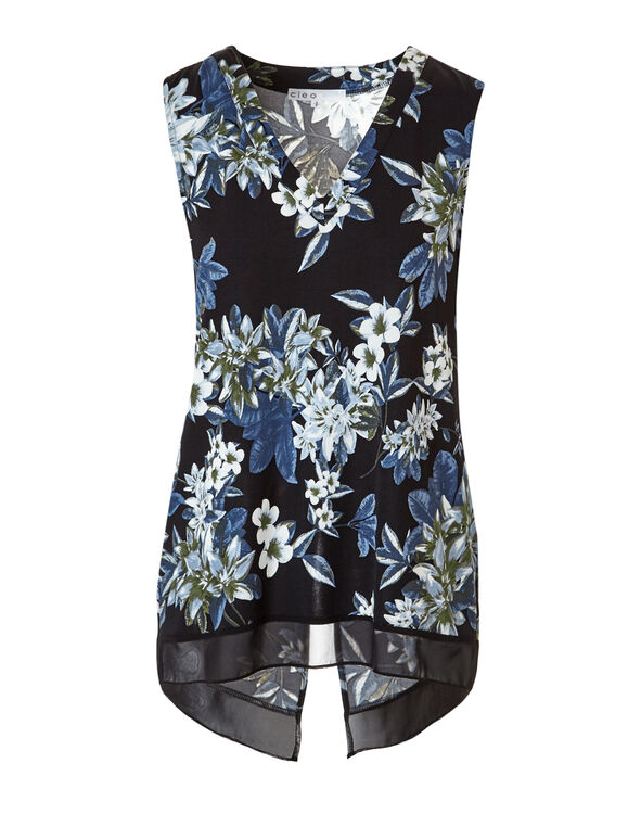 Floral Print V-Neck Top, Black/Blue/Olive, hi-res