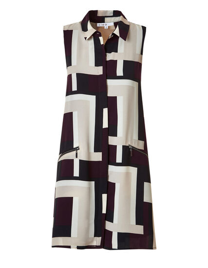 Claret A-Line Shirt Dress, Black/Latte/Claret/Ivory, hi-res