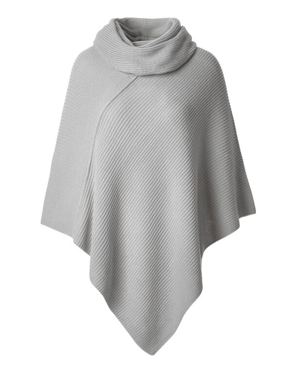 Grey Ottoman Poncho With Scarf, Light Grey Mix, hi-res