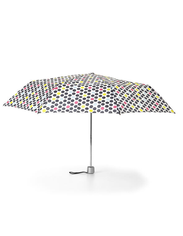 Multi-Dot Printed Umbrella, White/Black/Yellow/Pink, hi-res