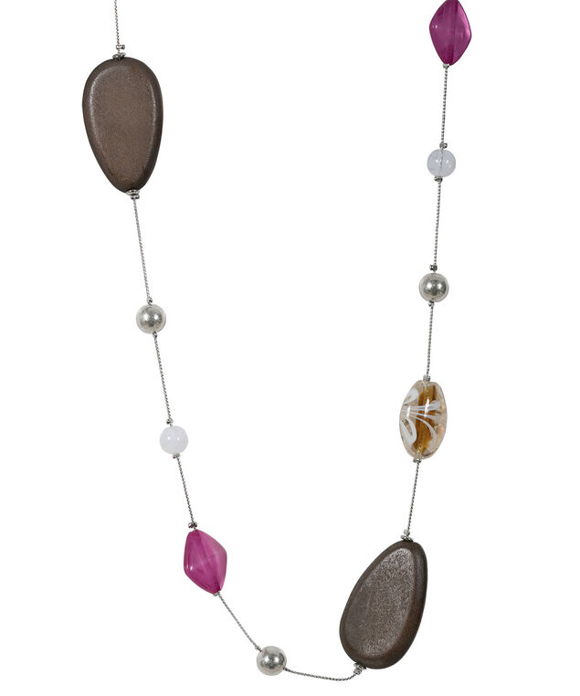 Stationed Wood Bead Necklace, Violet/Brown/Burnished Silver, hi-res