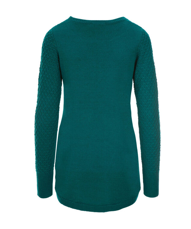 Basket Stitch Pullover Sweater, Bright Teal, hi-res