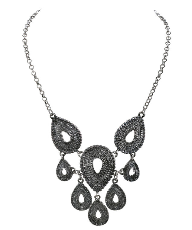 Textured Teardrop Necklace, Burnished Silver, hi-res