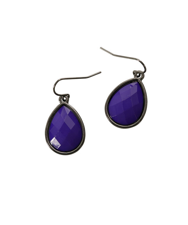 Stone Teardrop Earring, Royal Purple/Hematite, hi-res