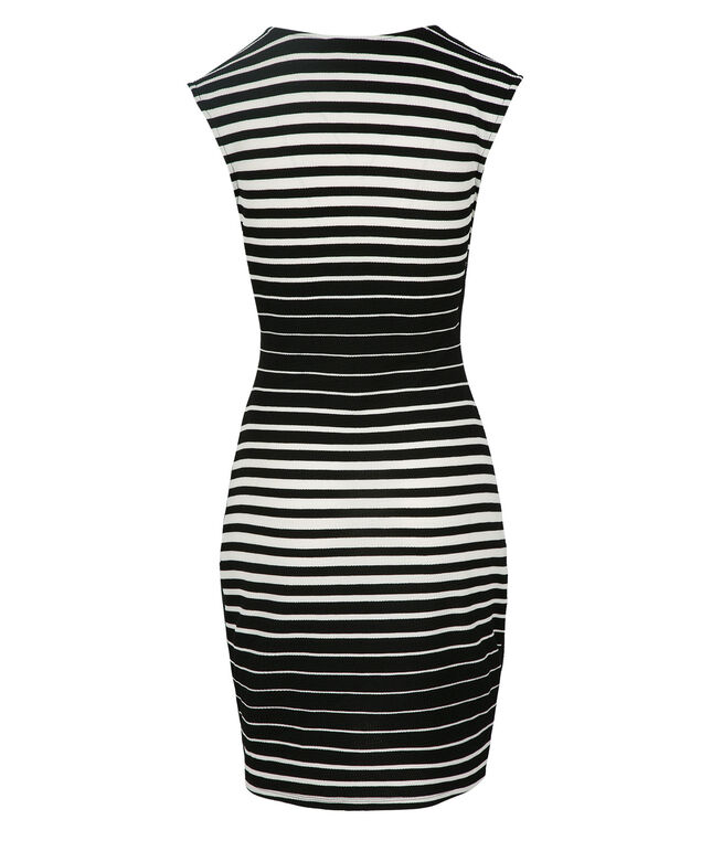 Ombre Stripe Dress, Black/White, hi-res