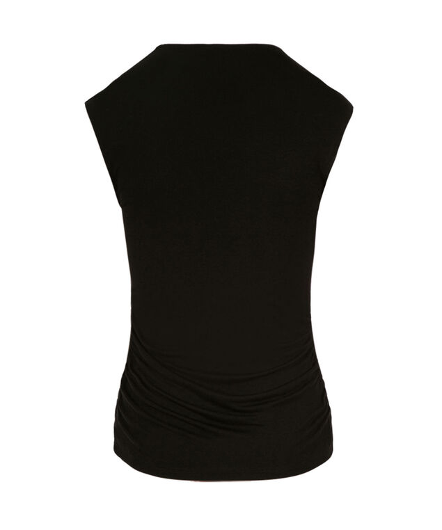V-neck Ruched Top, Black, hi-res