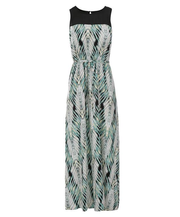Illusion Neck Challis Maxi Dress, Mint Print, hi-res
