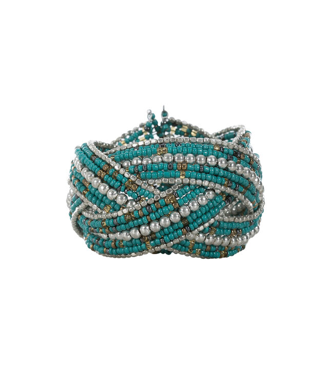 Seed Bead Bracelet, Turquoise/Silver, hi-res
