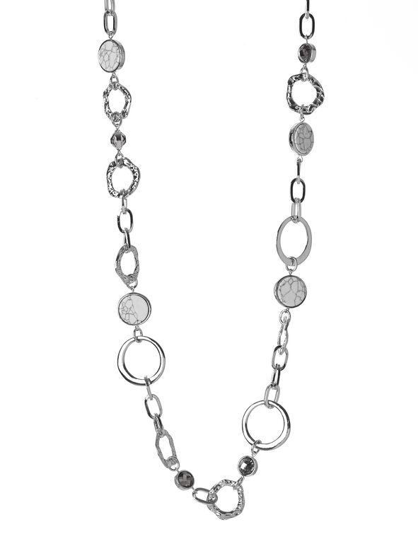 Rhodium Ring Long Necklace, Rhodium, hi-res