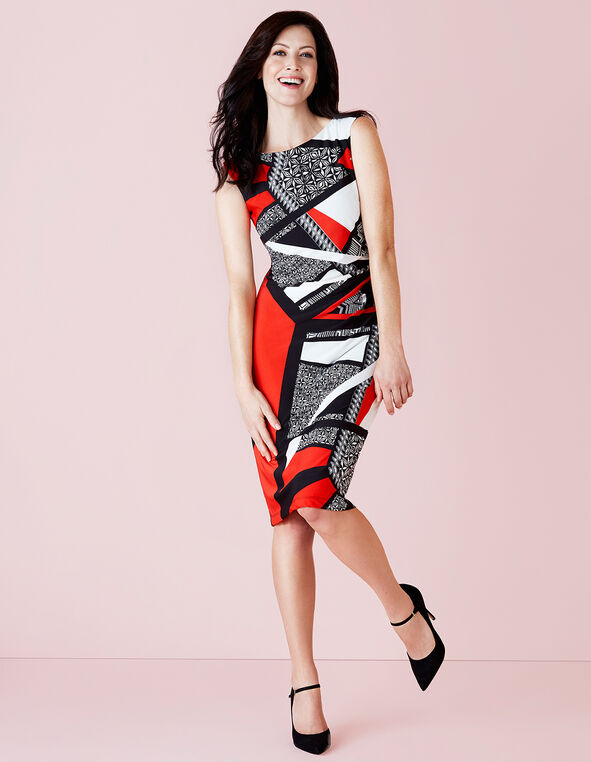 Red Geometric Shift Dress, Red/Black/White, hi-res