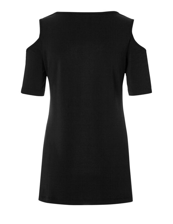 Black Cold Shoulder Top, Black, hi-res