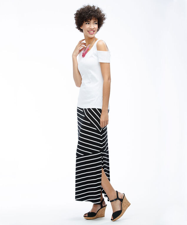 Knit Striped Maxi Skirt, Black/White Stripe, hi-res