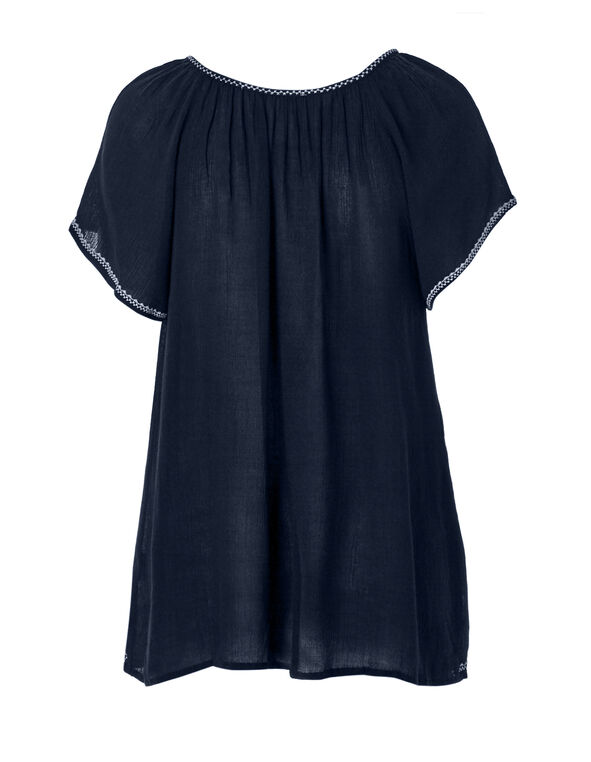 Navy Embroidered Top, Navy/White, hi-res