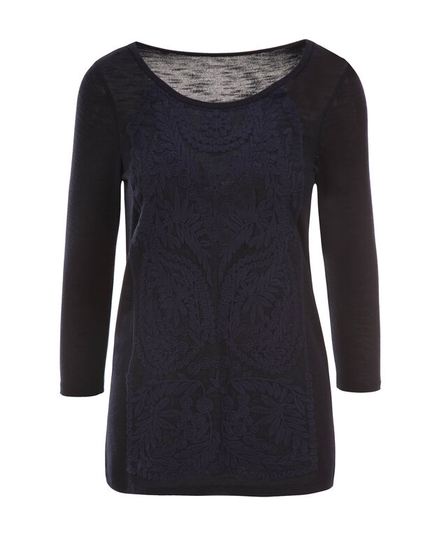 Long Sleeve Lace Hacci, Navy, hi-res