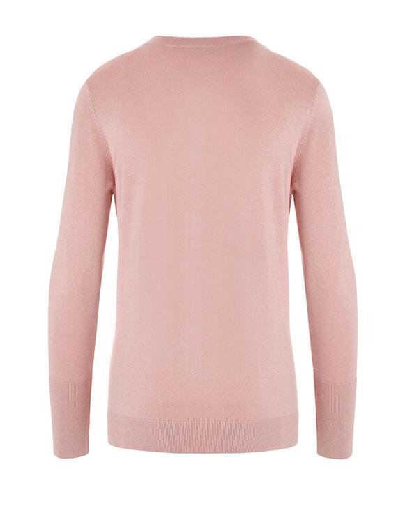 Soft Pink Crew Neck Cardigan, Soft Pink, hi-res