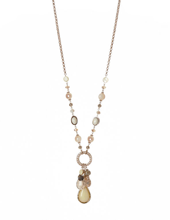 Long Yellow Bead Necklace, Gold/Pink/Ivory, hi-res