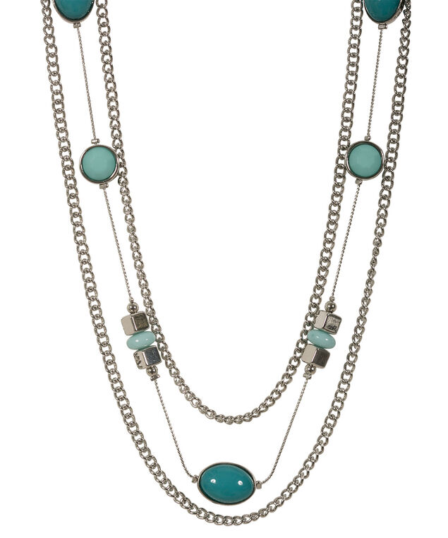 Multi Row Stationed Bead Necklace, Rhodium/Green, hi-res