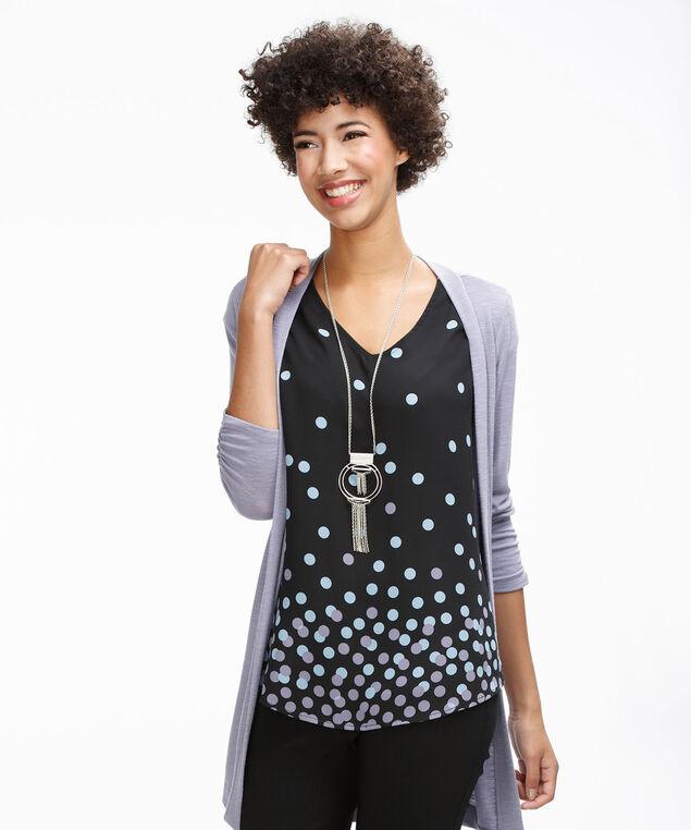 Extended Sleeve V-Neck, Black/Purple Print, hi-res